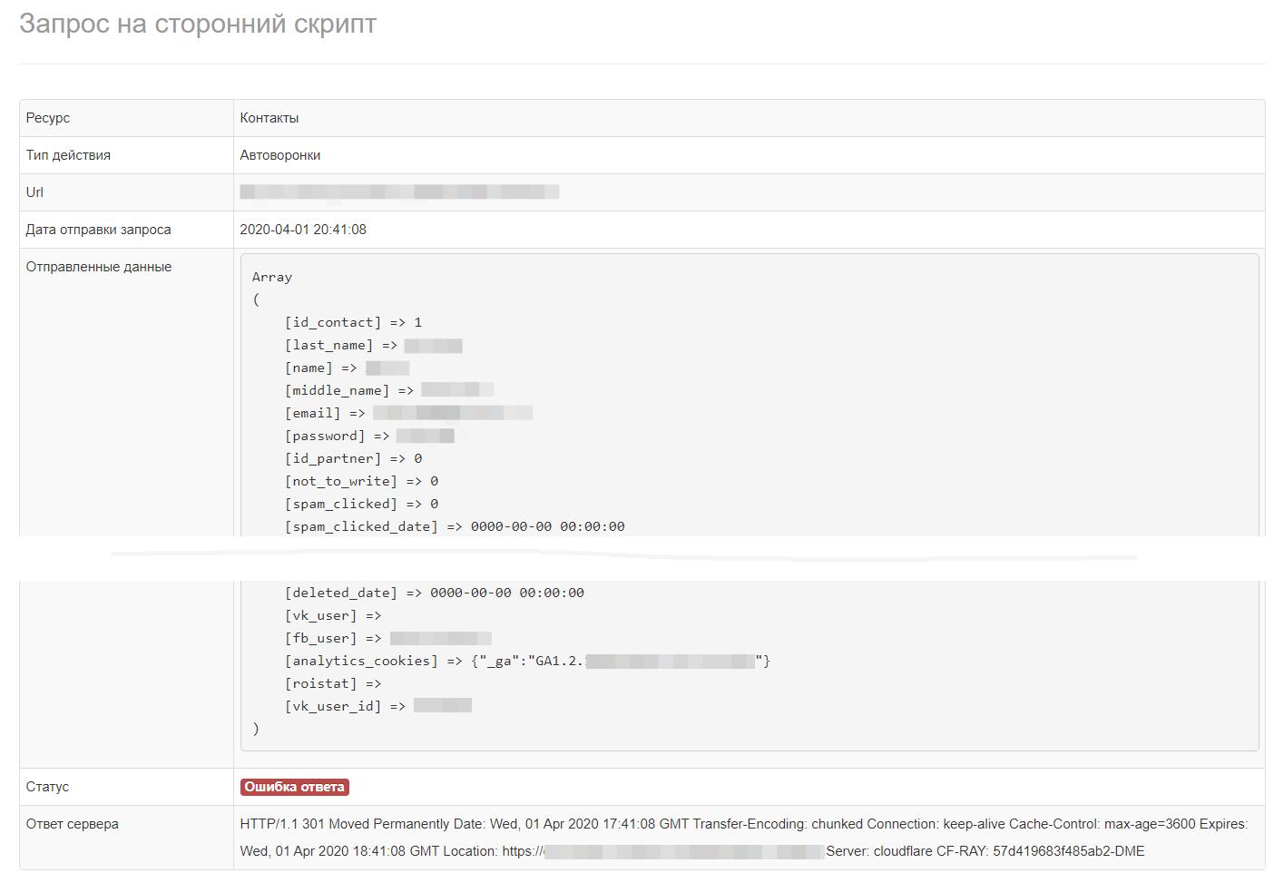 Логирование отправляемых веб хуков в АвтоВоронках продаж