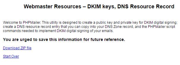 Создание закрытого (DKIM Private Key) и публичного (DKIM Public Key) ключей DKIM подписи